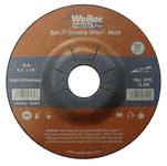 Weiler Carburo de silicio Rueda esmeriladora de superficie - Tipo 27 - rueda de centro hundido - 24 grano Grueso grado - Accesorio Eje - Diámetro 4 1/2 pulg. - Agujero Central 7/8 pulg. - Grosor 1/4 p
