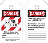 Brady RipTag 150501 Negro/Rojo sobre blanco Poliéster Etiqueta de bloqueo/etiquetado - Ancho 3 pulg. - Altura 5 3/4 pulg. - B-851